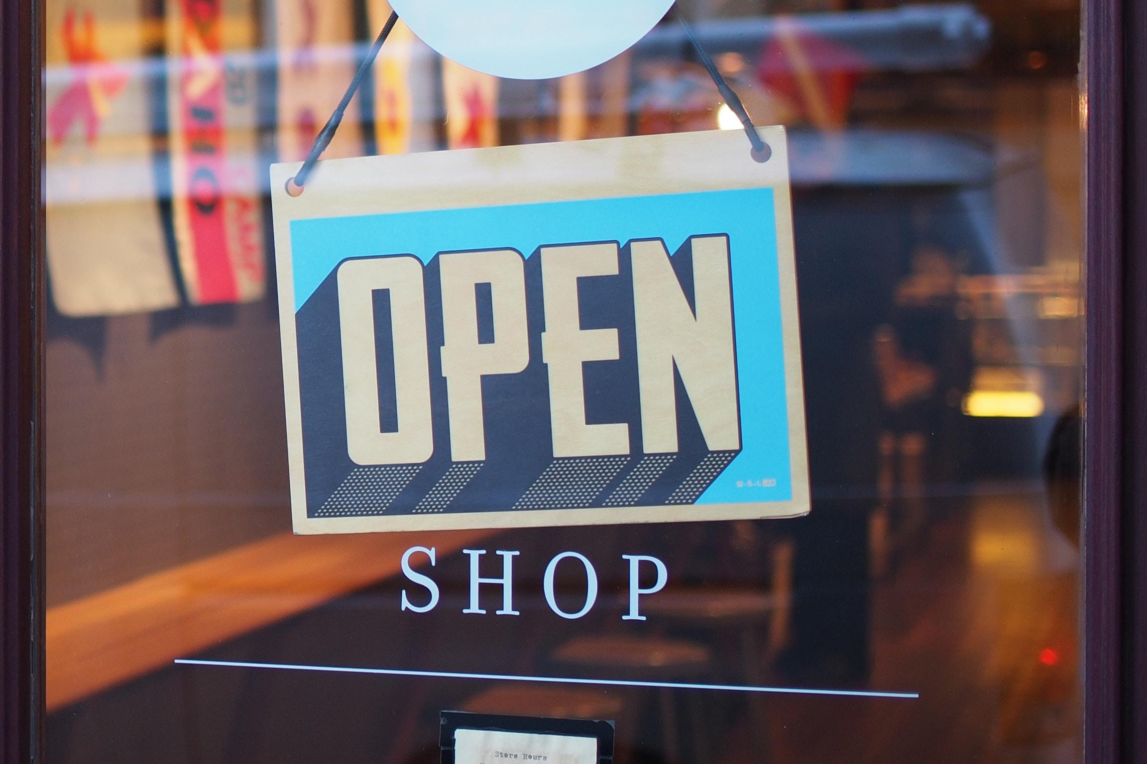 An open shop sign