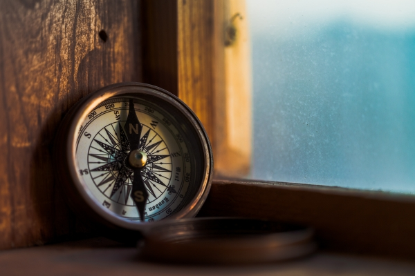 Compass in a window sill