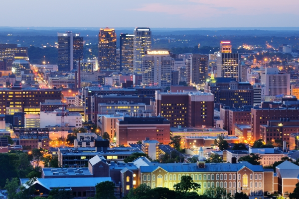 A picture of the skyline of Birmingham, Alabama
