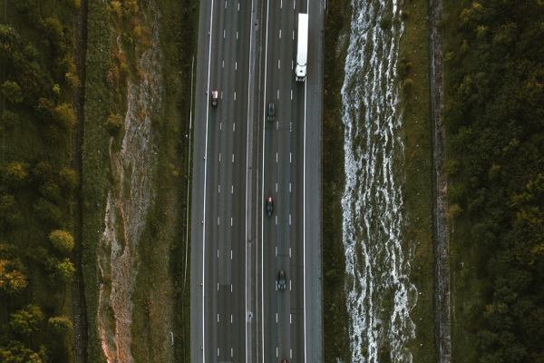 view of road from above