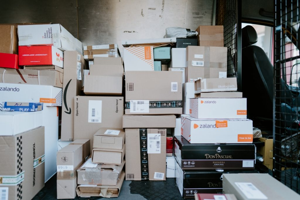 room full of shipping boxes