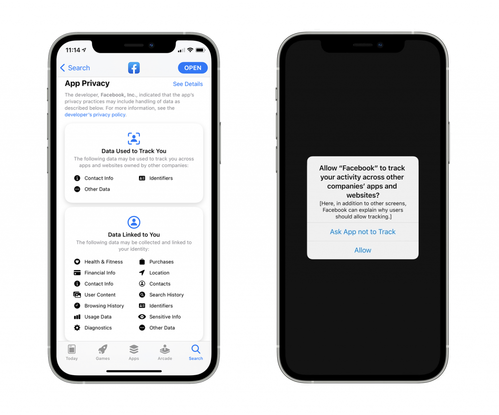 Apple app tracking transparency nutrition labels and consent request